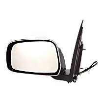 Mirror - Driver Side, Power, Chrome, Black Base, For Extended Cab