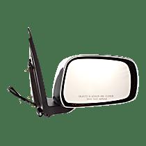 Mirror - Passenger Side, Power, Chrome, Black Base, For Extended Cab