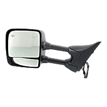 Towing Mirror Manual Folding Heated - Driver Side, Power Glass,With Blind Spot Corner Glass, Chrome