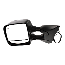 Mirror - Driver Side, Towing, Power, Heated, Folding, Textured Black, With Blind Spot Glass, For Towing Package