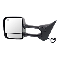 Mirror - Driver Side, Towing, Power, Heated, Folding, Chrome, With Memory, Blind Spot Glass, Black Base, For Towing Package