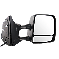 Mirror - Passenger Side, Towing, Power, Heated, Folding, Chrome, w/ Memory, Blind Spot Glass, Black Base, For Towing Package