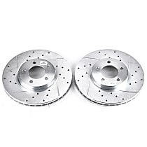 Powerstop Front Driver And Passenger Side Brake Disc - Evolution Drilled & Slotted Performance 2-Wheel Set, Cross-Drilled and Slotted
