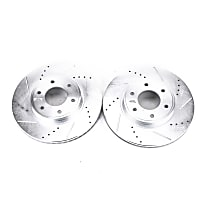 Power Stop® AR82120XPR Front Drilled, Slotted and Zinc Plated Brake Rotors