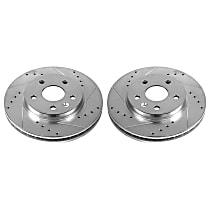 Power Stop® AR82134XPR Front Drilled, Slotted and Zinc Plated Brake Rotors