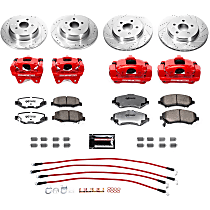Power Stop® BBK-JK-003R Front and Rear Jeep Wrangler JK / JKU Big Brake Conversion Kit - Rotors, Pads and Powder Coated Calipers + Stainless-Steel Brake Hoses (No Lift)