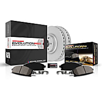 Power Stop® CRK4722 Rear Genuine Geomet® Coated Rotor and Low-Dust Ceramic Brake Pad Kit