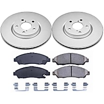 Front Genuine Geomet® Coated Rotor and Low-Dust Ceramic Brake Pad Kit