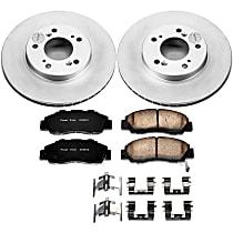 Front Genuine Geomet® Coated Rotor and Low-Dust Ceramic Brake Pad Kit