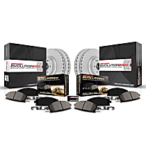 Power Stop® CRK7342 Front and Rear Genuine Geomet® Coated Rotor and Low-Dust Ceramic Brake Pad Kit