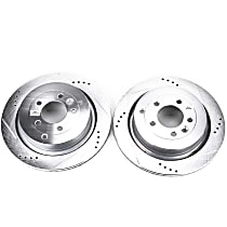 Power Stop® EBR1046XPR Rear Drilled, Slotted and Zinc Plated Brake Rotors