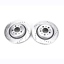 Power Stop® EBR1077XPR Rear Drilled, Slotted and Zinc Plated Brake Rotors
