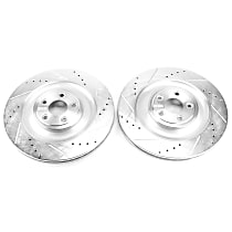 Power Stop® EBR1090XPR Rear Drilled, Slotted and Zinc Plated Brake Rotors