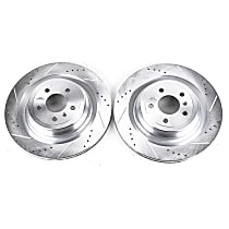 Powerstop Rear Driver And Passenger Side Brake Disc - Evolution Drilled & Slotted Performance 2-Wheel Set, Cross-Drilled and Slotted