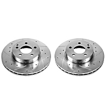Power Stop® EBR876XPR Front Drilled, Slotted and Zinc Plated Brake Rotors
