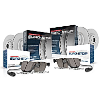 Front and Rear Euro-Stop High-Carbon Coated Rotors, ECE-R90 Brake Pads Made in Europe + Hardware Kit