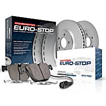 Powerstop Rear Brake Disc and Pad Kit - Euro-Stop Replacement 2-Wheel Set
