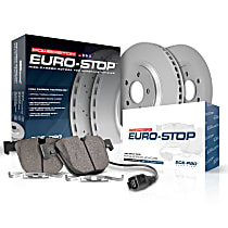 ESK891 Front Euro-Stop High-Carbon Coated Rotors, ECE-R90 Brake Pads Made in Europe + Hardware Kit