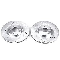 Power Stop® JBR1100XPR Front Drilled, Slotted and Zinc Plated Brake Rotors