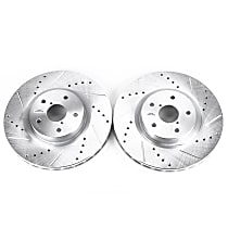 Power Stop® JBR1117XPR Front Drilled, Slotted and Zinc Plated Brake Rotors