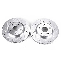 Power Stop® JBR1127XPR Front Drilled, Slotted and Zinc Plated Brake Rotors