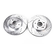 JBR1141XPR Front Drilled, Slotted and Zinc Plated Brake Rotors