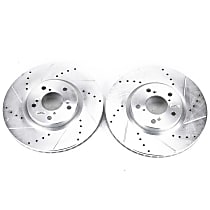 Power Stop® JBR1171XPR Front Drilled, Slotted and Zinc Plated Brake Rotors