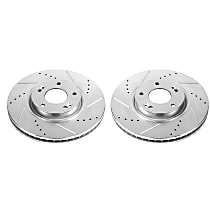 Power Stop® JBR1323XPR Front Drilled, Slotted and Zinc Plated Brake Rotors