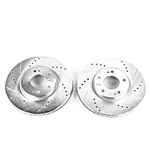 Power Stop® JBR1324XPR Front Drilled, Slotted and Zinc Plated Brake Rotors
