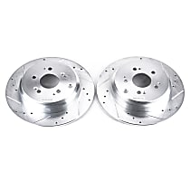 Power Stop® JBR1332XPR Rear Drilled, Slotted and Zinc Plated Brake Rotors