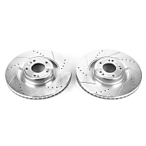 Power Stop® JBR1535XPR Front Drilled, Slotted and Zinc Plated Brake Rotors