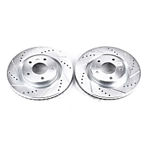 Power Stop® JBR1538XPR Front Drilled, Slotted and Zinc Plated Brake Rotors