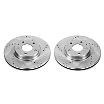 Power Stop® JBR1596XPR Front Drilled, Slotted and Zinc Plated Brake Rotors