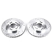 Power Stop® JBR583XPR Front Drilled, Slotted and Zinc Plated Brake Rotors