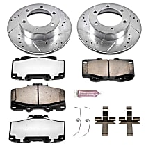 Powerstop Front Brake Disc and Pad Kit - Z36 Extreme Truck And Tow Performance 2-Wheel Set, Cross-drilled and Slotted