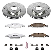 Powerstop Front Brake Disc and Pad Kit - Z26 Street Warrior Performance 2-Wheel Set, Cross-drilled and Slotted