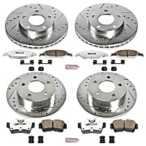 Powerstop Front And Rear Brake Disc and Pad Kit - Z26 Street Warrior Performance 4-Wheel Set, Cross-drilled and Slotted