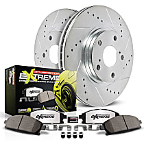 Powerstop Rear Brake Disc and Pad Kit - Z26 Street Warrior Performance 2-Wheel Set, Cross-drilled and Slotted
