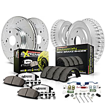 Front And Rear Brake Disc and Pad Kit, 2-Wheel Set