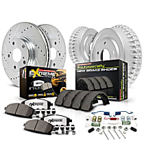 K15033DK-36 Front and Rear Power Stop® [SKU] [Axle] Z36 Truck Carbon-Fiber Ceramic Brake Pads, Drilled + Slotted Rotors, Drum + Shoe Kit