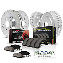 K15089DK Front and Rear Power Stop® [SKU] [Axle] Z23 Daily Carbon-Fiber Ceramic Brake Pads, Drilled + Slotted Rotors, Drum + Shoe Kit