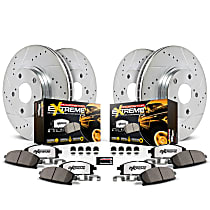 Powerstop Front And Rear Brake Disc and Pad Kit - Z36 Extreme Truck And Tow Performance 4-Wheel Set, Cross-drilled and Slotted
