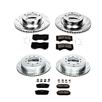 K2813 Front and Rear Z23 Daily Carbon-Fiber Ceramic Brake Pad and Drilled & Slotted Rotor Kit