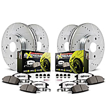 K4167-26 Front and Rear Z26 Muscle Carbon-Fiber Ceramic Brake Pad and Drilled & Slotted Rotor Kit