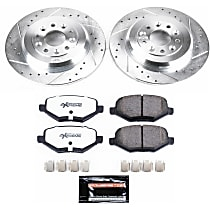 Powerstop Rear Brake Disc and Pad Kit - Z36 Extreme Truck And Tow Performance 2-Wheel Set, Cross-drilled and Slotted