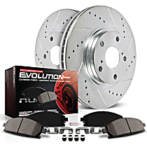 Powerstop Front Or Rear Brake Disc and Pad Kit - Z23 Evolution Sport Performance 2-Wheel Set, Cross-drilled and Slotted