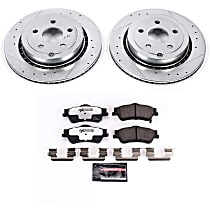Power Stop® K5528-26 Rear Z26 Muscle Carbon-Fiber Ceramic Brake Pad and Drilled & Slotted Rotor Kit