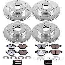 K6023-26 Front and Rear Z26 Muscle Carbon-Fiber Ceramic Brake Pad and Drilled & Slotted Rotor Kit