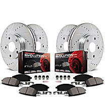 Powerstop Front And Rear Brake Disc and Pad Kit - Z23 Evolution Sport Performance 4-Wheel Set, Cross-drilled and Slotted