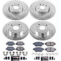 Power Stop® K6427 Front and Rear Z23 Daily Carbon-Fiber Ceramic Brake Pad and Drilled & Slotted Rotor Kit